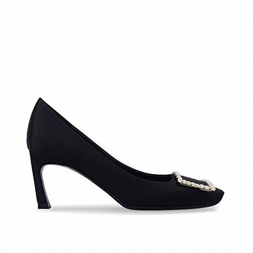 Con Zapatos Tacón un De Hebilla Cuadrado Alto 34 Plátano High Pequeña Heels q8gntvZ