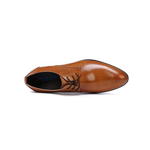 Sintética Brillante De Florales Hombre Moda Formales Negro Con Zxcer Para Negocios Piel Marrón Cordones Patentes Punta Zapatos Derby Estrecha Vestir wR6nW1qT