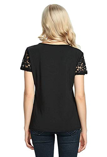 Hollow V Tops Camicetta Yhujh Corta Manica Tinta Stile Casual Schwarz Sexy T Camicette Top shirt Pullover Ladies Cross Neck Bandage Speciale Lace Estate Splice Moda Unita qrwvgq1na7