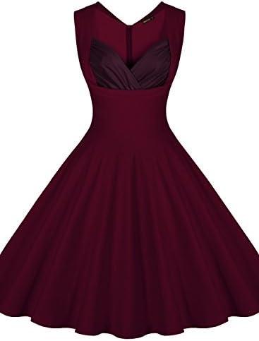 e02960bd7c55 Miusol Women's Vintage 1950s V-Neck Sleeveless Evening Party Swing Dress