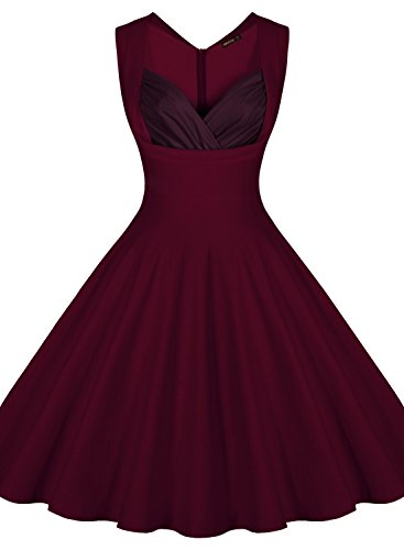 MIUSOL Women's Cut Out V-Neck Vintage Casual 1950'S Retro Party Dress, Wine Red, X-Large (Vintage Vneck Dress)