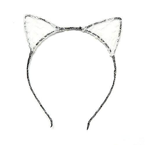 MOPOLIS Lace Cat Ears Girl Headband Hairband Fancy Costume Dress | Color - White -