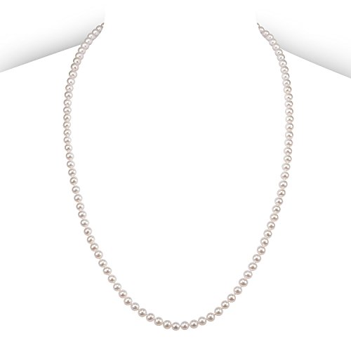 Sterling Silver Strand Freshwater Pearl Necklace (PAVOI Sterling Silver White Freshwater Cultured Pearl Necklace (24, 5mm))