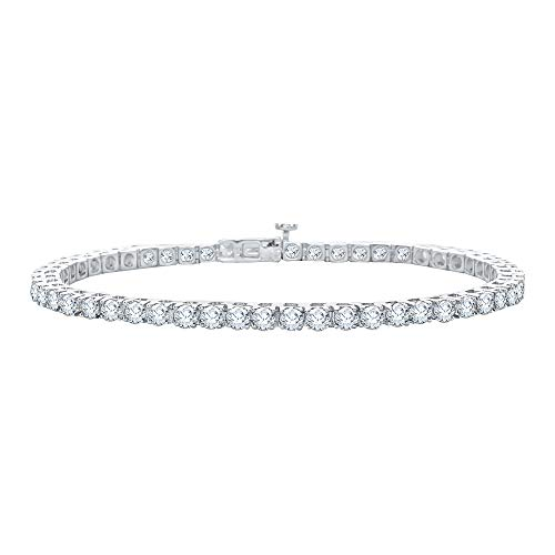 - KATARINA Diamond Tennis Line Bracelet in 14k White Gold (15 cttw, G-H, I2-I3)