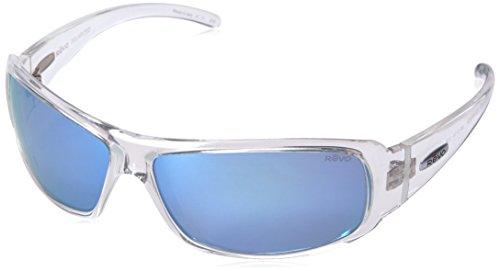 Revo Sunglasses Re 5010x Gunner Polarized Wraparound Wrap, Clear Crystal Blue Water, 66 mm -