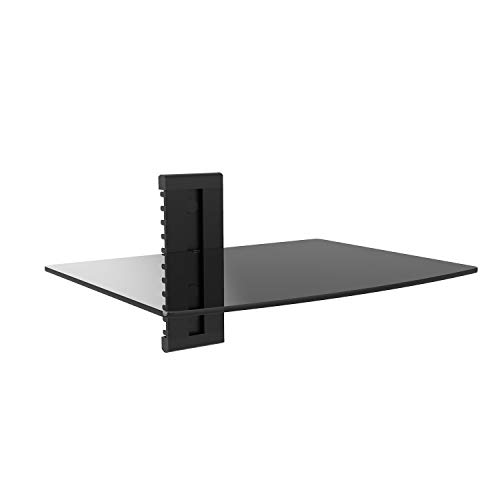 WALI Floating Wall Mounted Shelf with Strengthened Tempered Glasses for DVD Players