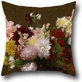 18 X 18 Inches / 45 By 45 Cm Oil Painting Victoria Dubourg (Fantin-Latour) - Flowers Pillow Shams ,2 Sides Ornament And Gift To Bench,gf,home,dining Room,teens Girls,bedroom