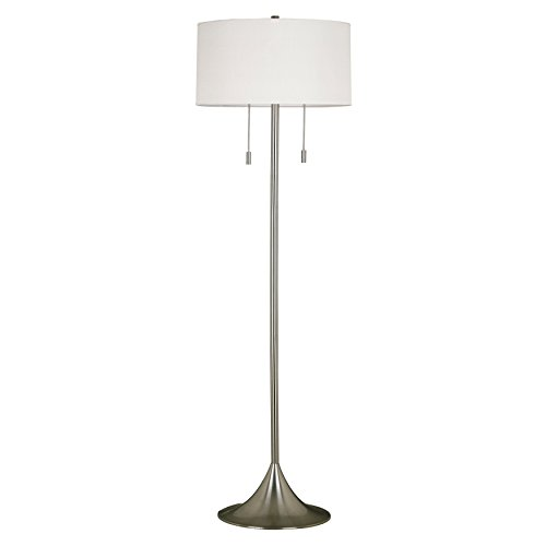 Modern Retro 61 Inch Brushed Steel Base Floor Lamp with White Drum Shade - Includes Modhaus Living Pen