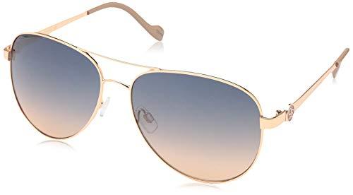 Jessica Simpson Women's J5596 Rgdnd Non-Polarized Iridium Aviator Sunglasses, Rose Gold Nude, 60 ()