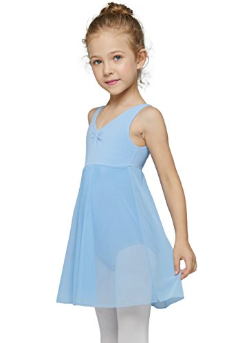 Skirted Tank Leotard for Girls by Mdnmd (Tag 120) Age 4-6, Blue) Child Scoop Tank Leotard