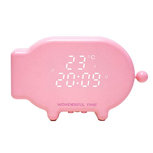 Cartoon Pig Snooze Clock,chenJBO2019 USB Charge Sound and Light Control Thermometer Time Alarm Clock Light ()