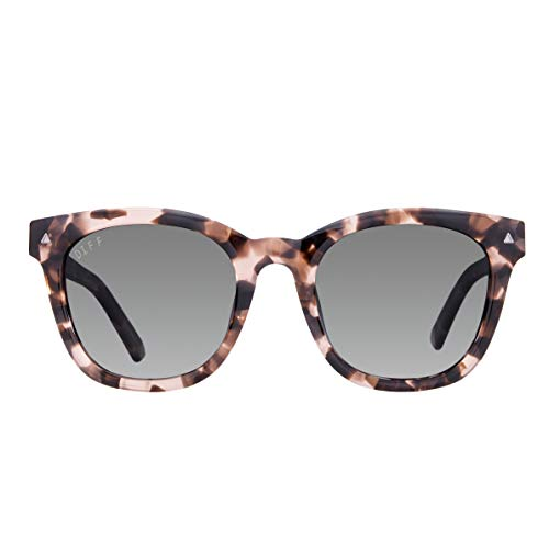 Smoke Cr 39 Lenses - DIFF Eyewear - Ryder - Designer Square Sunglasses for Men & Women - 100% UVA/UVB [Polarized] (Himalayan Tortoise + Smoke Gradient Polarized Lens)