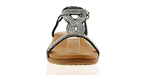 Plat Cynthis Uk 3 Tailles Sandales Dames Noires 8 Femmes Dunlop Noir w4SO6