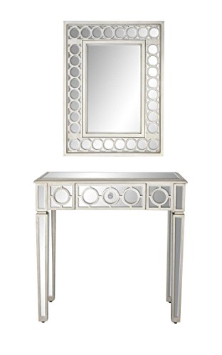 - Deco 79 58753 Wall Mirror and Console Table Set, White