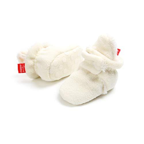 Botas de Nino Calcetin Invierno Soft Sole Crib Raya de Caliente Boots de Algodon para Bebes (6-12 Meses, Blanco, Tamano de Etiqueta 12)