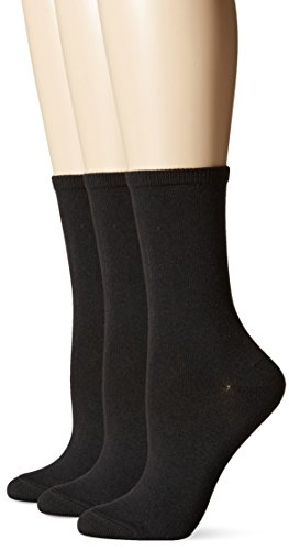 Hanes Women's ComfortSoft Crew Socks 3-Pack, Black, Shoe Size 5-9