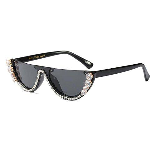 Brillant Mod C3a Chic Noir Retro soleil Mode Eye Triangle lunettes Super Gris de Vintage femmes Cat Meijunter Eyewear Z6H54qWw