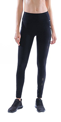 X by Gottex Women's   High Waist Tummy Compression Control & Slimming   with Contrast Zip Pocket   Full Length Athletic Legging Pant, Black, Medium