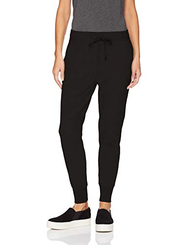 Daily Ritual Women's  Terry Cotton and Modal Jogger, Black, Large