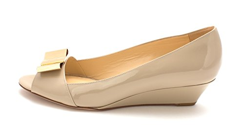 Kate Spade New York Womens Theresa Open Toe Wedge Pumps Linen/Patent
