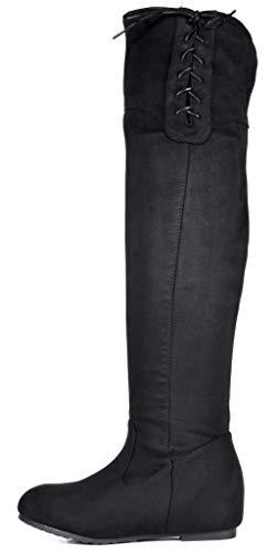 DREAM PAIRS Women's Drew Black Hidden Wedges Heel Over The Knee Boots Size 8 M US