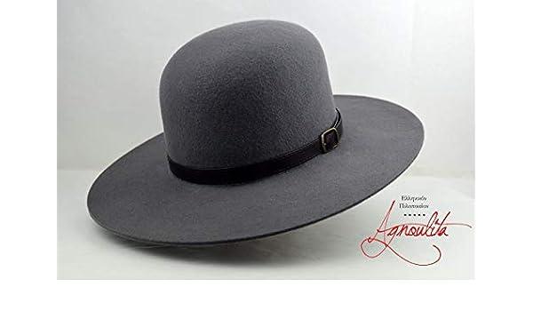 ada967ca4cc869 Amazon.com: The Livaja - Wool Felt Round Crown Handmade Tiller Hat - Wide  Brim - Men Women: Handmade