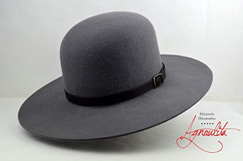 The Livaja - Wool Felt Round Crown Handmade Tiller Hat - Wide Brim - Men Women