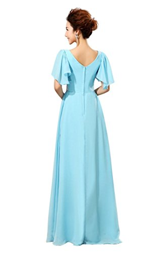 Chiffon lang Blau Abendkleider Beauty Kleid Buble Heart Emily Sweat Sleeve ww7xYq8