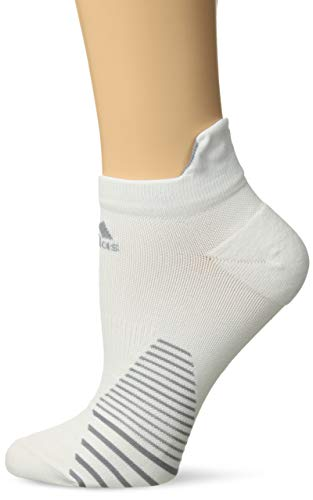 adidas Unisex Running Tabbed No Show Sock (1-Pair), White/Light Onix, Medium, (Shoe Size 6.5-9) from adidas