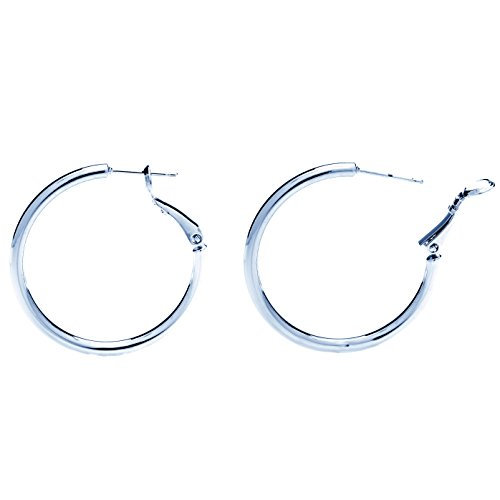 - Hoop Earrings, Medium, 24K White Gold (Rhodium) Over Semi-Precious Metals, Fashion Jewelry, Surgical Steel Posts are Safe for Most Ears, Light and Easy to Wear, 1.25 Inches Diameter