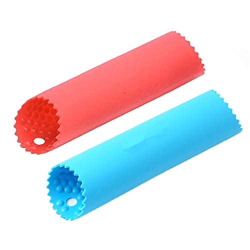 (CMrtew ❤️ Garlic Peeler Food Grade Silicone Garlic Roller Peeling Tube Garlic Peeling Tool Tube Roller Easy Useful Kitchen Tool (Blue+Red, 3.5cmx14cm))