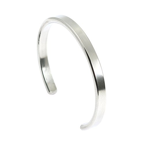 7mm High Polish Bangle Bracelet (7mm Thin Brushed Aluminum Silver Tone Cuff Bracelet By John S Brana Handmade Jewelry Hypoallergenic (7.5 Inches))