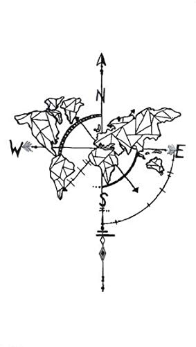 Etiqueta engomada del tatuaje Impermeable Brújula falsa temporal ...