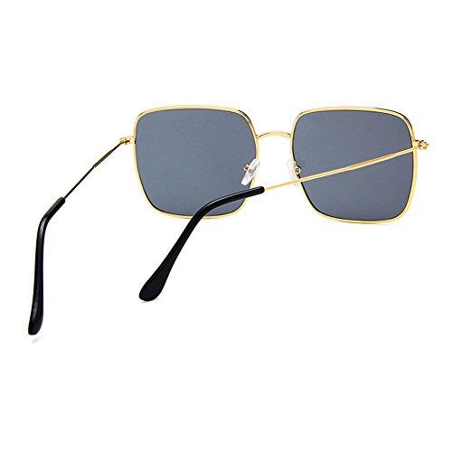 cuadradas Moda Caja Resina de Moolo de de de de Decoración poligonales Estiramiento Gafas Gris Sol Gafas Pink Sol Coreano Retro Metal Facial Grande Gafas Color UqfnpqwI