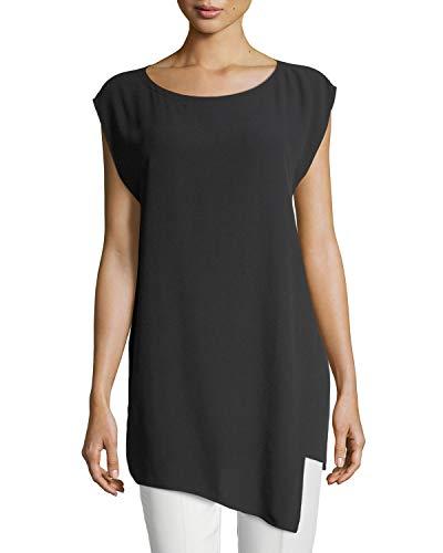 Georgette Tunic Silk - Eileen Fisher Black Silk Georgette Crepe Bateau Neck Tunic Size M MSRP $298