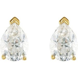 1.50 Cttw Charles and Clovard 14k Yellow Gold Moissanite Pear Solitaire Earrings by The Men's Jewelry Store