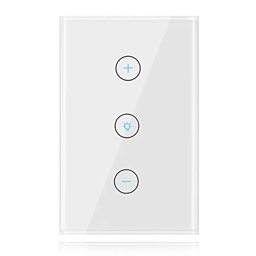Smart Dimmer Switch, Gadget-Park WiFi Dimmable Light Switch for LED Bulbs/Halogen/CFL/Incandescent Bulbs, Compatible with Alexa and Google Assistant, Single-Pole, No Hub Required