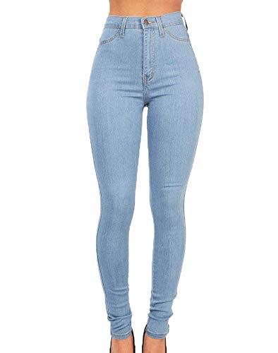 Huateng Femme pour Bleu Ciel Taille Jean Skinny Respirant Haute OgqOrBT