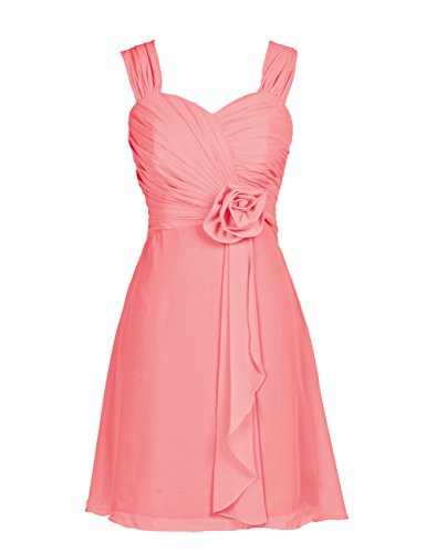 Dressystar Short Prom Cocktail Patry Ball Dress for Girls with straps Size 22W Coral