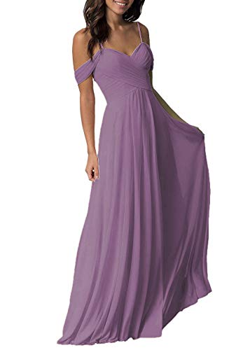 Women's Wedding Bridesmaid Dresses Long Off The Shoulder Chiffon Formal Evening Dress Wisteria -
