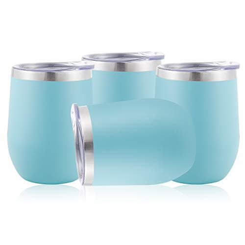 (DOMICARE Insulated Wine Tumbler Glasses with Lid (4 Pack, Light Blue) - 12 OZ Stemless Double Wall Vacuum Traval Mug Cup - Keeping Cold & Hot for Wine, Coffee, Cocktails, Drinks)