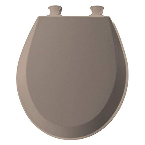 d Wood Round Toilet Seat With Easy Clean and Change Hinge Fawn Beige ()