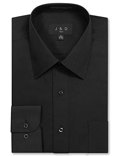 JD Apparel Men's Long Sleeve Regular Fit Solid Dress Shirt 17-17.5 N : 36-37, X-Large, Black ()