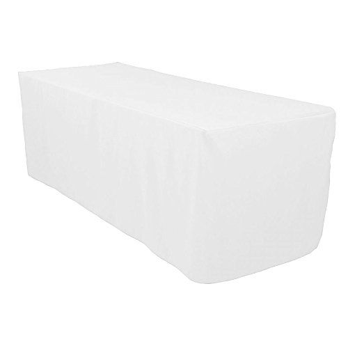 VEEYOO 8 Feet Rectangle Polyester Table Cover Fitted Tablecloth for Wedding Party Banquet, White