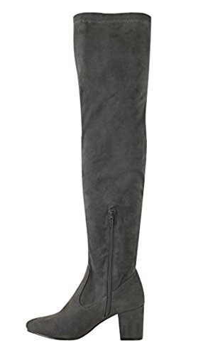 Ladies Womens Over The Knee Boots Low Mid Block Heel Party Stretch Shoes Size Grey ZArAVxPeh
