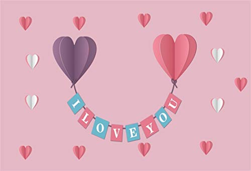 Yeele 8x6ft Photography Backdrop Valentine's Day Lovers Couple Wedding Romantic Colorful Heart Shape Origami Hanging Ornament Photo Background Happy Valentine's Day Studio Props