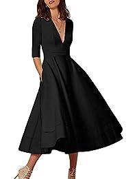 Women's Elegant Cocktail Maxi Dress Deep V Neck 3/4 Sleeve Vintage Pleated Dress