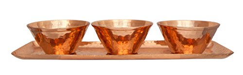 Orange French Bowl Set (Premium Quality Hammered Copper Bowls & Rectangular Party Serving Tray Set - Handmade Charger Plate Housewares - Set of 4 Pieces - 100% Pure Heavy Gauge Copper - By)