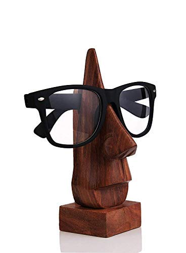 IndiaBigShop Wooden Hand Carved Classic Sheesham Wood Nose-shaped Eyeglass Spectacle Holder Perfect for Home and Office Decor 6 Inch