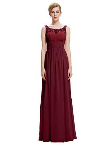 Belle Poque® Vestido Largo de Fiesta para Boda Vestido de Gala sin Mangas de Ceremonia para Mujer Maxi rojo vino
